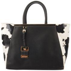Monnari - czarna duża torba, deseń w łaty | Czarne Torebki