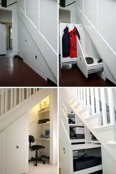we need to convert our closet under the basement stairs to something like this. under stair storage.