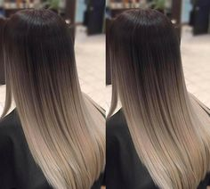 This ombre style fades fairly dramatically from dark brown at the roots to dirty blonde at the ends. These two shades are blended evenly about halfway down the hair shaft to make the transition from dark to light look natural and create a low-maintenance Brown Ombre Hair, Balayage Hair Blonde, Brown Blonde Hair, Ombre Hair Color, Brown Hair Colors, Ombre Style, Balayage Hairstyle, Dark Brown To Blonde Balayage, Balayage Straight