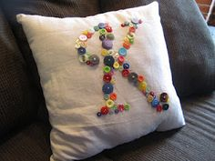 DIY - Monogramed Button Pillow... check out the blog for the tutorial!