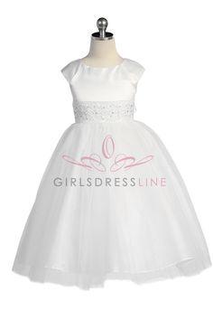 White Embroidered Lace Flower Girl Dress withe Sleeves JD1184 $54.95 on www.GirlsDressLine.Com