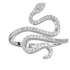 Fleur Silver Tone Cubic Zirconia Snake Ring (€17) ❤ liked on Polyvore featuring jewelry, rings, white, silver tone jewelry, cubic zirconia jewelry, snake jewelry, white ring and coiled snake ring