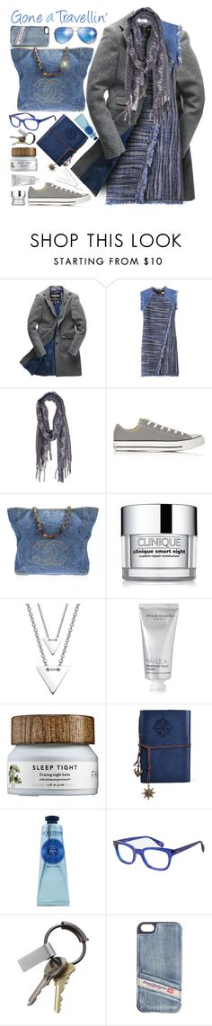 """""""GONE A TRAVELLIN'"""" by kiki-parker ❤ liked on Polyvore featuring Superdry, Rebecca Taylor, Converse, Chanel, Clinique, kiz&Co., African Botanics, L'Occitane, Starling Eyewear and CB2"""