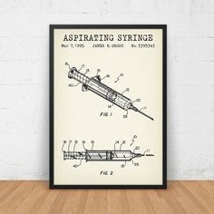 Syringe Patent Printable Medical Art Print by DigitalBlueprints