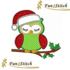 Christmas owl applique machine embroidery design