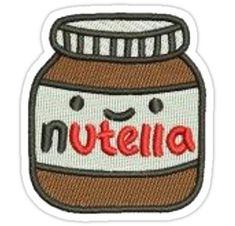 'Nutella Patch' Sticker by livpaigedesigns Cute Patches, Diy Patches, Pin And Patches, Iron On Patches, Jacket Patches, Nutella, Embroidery Patches, Embroidery Ideas, Hand Embroidery