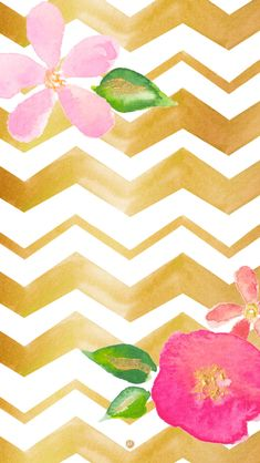 Watercolour illustrated gold chevron pink floral iphone wallpaper phone background lock screen