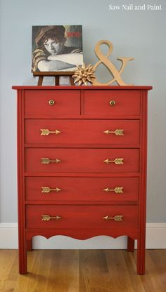 Simply Red Painted chest of drawers #refurbishedfurniture