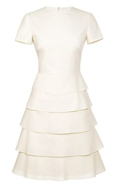Valentino Tiered Cotton and Silk-Blend Dress for Office Party