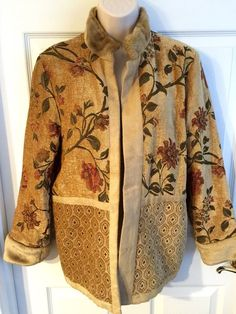 Isabella's Journey Jacket Small/Medium Faux Fur Antique Floral Chenille Tapestry  | eBay
