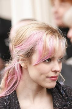 I don't know why I'm so obsessed with blonde/pink hair lately. Rachel needs to revisit this 'do, as well as Ryan Gosling.