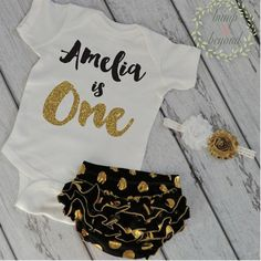 Girl First Birthday Outfit Gold Birthday Bloomers One Year Old Girl Outfit Bodysuit, Headband, Diaper Cover - Personalized Birthday by BumpAndBeyondDesigns
