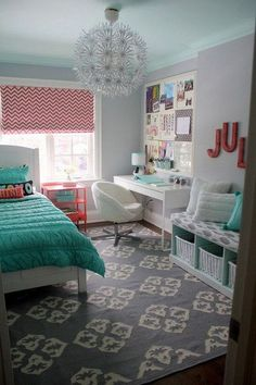 Coral and turquoise themed bedroom design for teenage girls. Bedroom and workplace just in one room. Functional and beautiful as its own. The pandent... Love it in my room!: