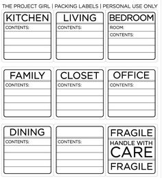 ♥ this! Printable labels for the boxes you pack during a move. I know this will come in handy when our house finally sells!