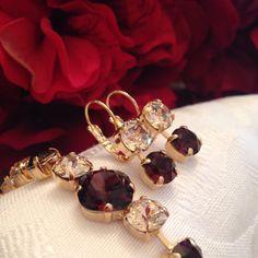 Swarovski burgundy crystal set, instant style and beauty! Bridesmaid Jewelry, Wedding Jewelry, Bridesmaids, Jewelry Gifts, Jewelery, Unique Jewelry, Luxury Jewelry, Stone Jewelry, Crystal Jewelry
