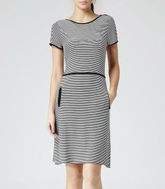 Womens Black/cream Stripe Jersey Dress - Reiss Benton