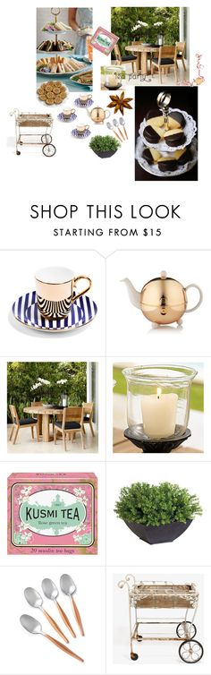 """teaparty"" by leilawithlove ❤ liked on Polyvore featuring interior, interiors, interior design, home, home decor, interior decorating, TWG Tea Company, Frontgate, Kusmi Tea and Ethan Allen"