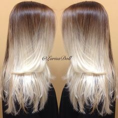 medium warm brown base ombre to silver ends. wish i had longer hair again! and wish i could pull this one off! White Ombre Hair, Ombre Hair Color, Love Hair, Gorgeous Hair, Beautiful, Color Rubio, Hair Photo, Hair Highlights, Hair Dos