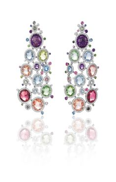 CHOPARD Red Carpet Collection 2015 ~ Gemstone and Diamond Chandelier earrings