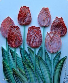 Открытка Квиллинг: тюльпаны Бумага, Бумажные полосы, Картон, Клей. Фото 1  -i like the use of shading
