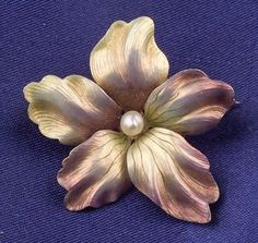 Art Nouveau 14kt Gold and Enamel Flower Pin, with seed pearl accent, dia. 1 1.8 in.