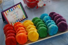 rainbow colored chocolate covered Oreos. (No recipe-just the idea and you can purchase the cards here.)