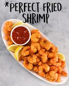 Fried Shrimp Recipes, Best Seafood Recipes, Shrimp Dishes, Yummy Recipes, Healthy Dinner Recipes, Appetizer Recipes, Cooking Recipes, Yummy Food, Recipe Tasty