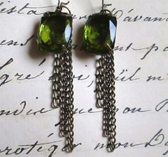 EMERALD EARRINGS on French wires.  Gorgeous.  $10.00  http://www.etsy.com/shop/mimijewels