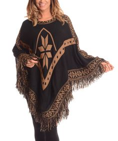 Another great find on #zulily! Black & Taupe Geo Fringe Poncho - Plus #zulilyfinds