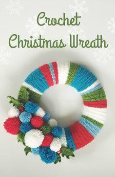 DIY Crochet Christmas wreath to adorn your front door.