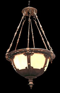 Courthouse Hanging Bronze Light Fixture with Soft Amber Stained Dome