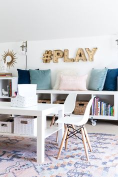 20 Fantastic Kids Playroom Design Ideas – My Life Spot Office Playroom, Playroom Decor, Colorful Playroom, Modern Playroom, Wall Decor, Wall Art, Kids Living Rooms, Kids Bedroom, Living Room Playroom