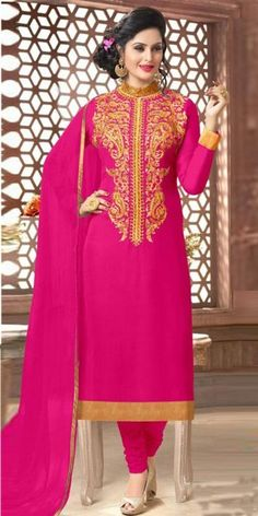 Hot Pink Georgette Straight Suit With Dupatta.