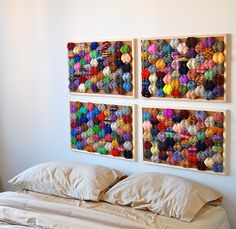 SUCH a fantastic idea! In case I never make it to the needed puffs I need to make a king size quilt. Diy Bed Headboard, Headboards For Beds, Quilting Projects, Crochet Projects, Puff Quilt, Above Bed Decor, King Size Quilt, Crate Furniture, Knitted Afghans