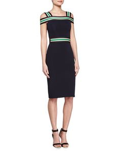 Off-The-Shoulder Striped Sheath Dress by Christopher Kane at Bergdorf Goodman.