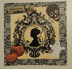 Silhouette Cameo: Halloween paper embellished with fabric pumpkins and cut outs