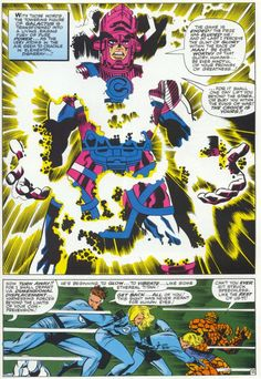 In terms of sheer awesomeness of artwork, still one of the greatest single issues of comic perfection ever produced and my favourite. Marvel Comics: Jack Kirby art Stan Lee story Fantastic Four #50, with Galactus