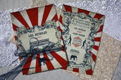 Vintage Carnival Wedding Invitation (Gorgeous Circus Invite Printable) Red, Blue and White. $24.50, via Etsy.