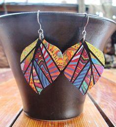 Paper Mosaic Earrings Upcycled Earrings by MarjEngleDesigns