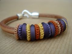 colorfull silk crochet bracelet combined with leather www.zsazsazsu1963.etsy.com