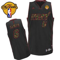 Heat #6 LeBron James Black Camo Fashion Finals Patch Embroidered NBA Jersey! Only $25.50USD
