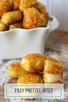 Your family will be begging you to make these pretzel bites.They finish up golden brown with a soft bread center perfect for dipping in butter, cheese sauce, or topping with cinnamon and sugar for a sweet treat! Easy Appetizer Recipes, Yummy Appetizers, Snack Recipes, Dessert Recipes, Desserts, Butter Cheese, Cheese Sauce, Great Recipes, Favorite Recipes