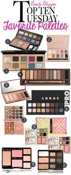 Top 10 Tuesday: My Favorite Makeup Palettes via @15 Minute Beauty