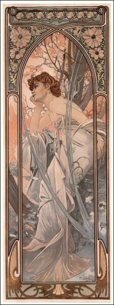 Art Nouveau illustration by Alphonse Mucha. The Times of the Day: Evening Contemplation. Mucha Art Nouveau, Alphonse Mucha Art, Art Nouveau Poster, Poster Art, Kunst Poster, Art Deco Posters, Art And Illustration, Illustrations And Posters, Illustrator
