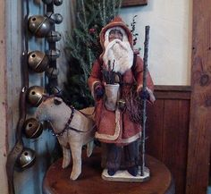 ~Primitive Santa with his Folk Art Sheep ~bells~