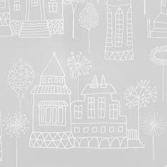 Kaspar Wallpaper A fun wallpaper with simple drawn buildings including houses, castles and tall towers, interspersed with trees, flowers and seed heads. Shown in white on pale grey.