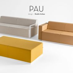 PAU is a versatile collection of upholstered modular elements that can be arranged in an endless number of layouts to adapt to the most diverse architectural styles and settings. The collection is made up of upholstered elements of different sizes, manufactured with or without backrests and that can be fitted with wooden, upholstered or metallic arms. The variety of elements and the scope of possibilities for layout facilitate its integration into all kinds of settings.