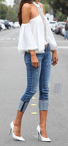 8be8824a08 Jeans and an off the shoulder top is a very stylish look
