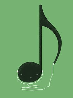 Happy music note, listening to itself.