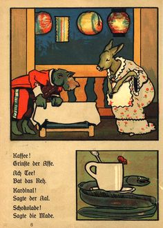 Animalarium Eugen Osswald, Ball der Tiere (The Animals' Ball), 1917, via the International Children's Digital Library Children's Book Illustration, Animal Party, High Tea, Childrens Books, Comics, Digital, Animals, Painting, Vintage Illustrations